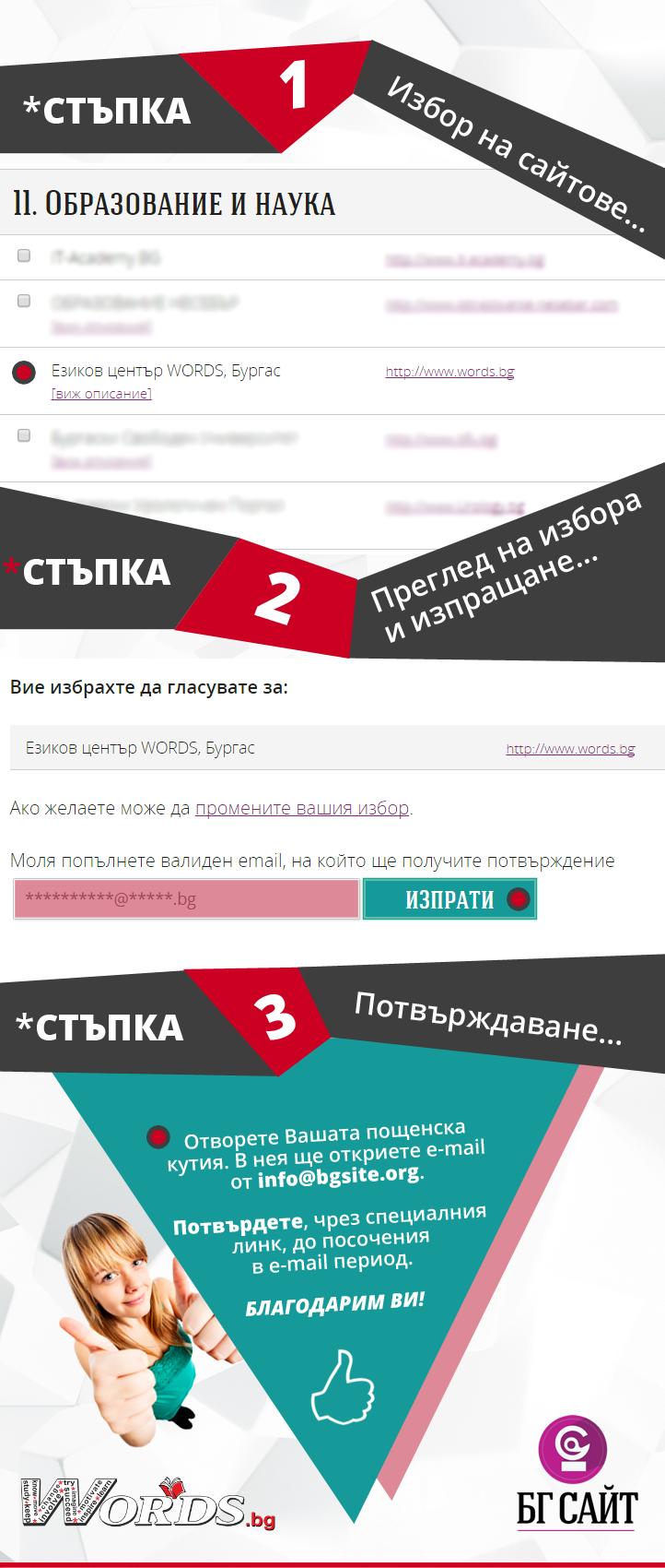 Гласувайте за WORDS.bg, в първото ни участие в конкурса БГ Сайт!